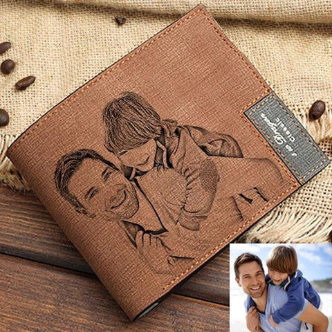 Men's Personalized Photo Engraved Wallet PU Leather Brown Gifts For Him