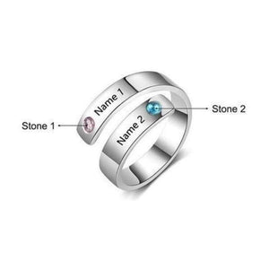 Personalized Rings For Women Engraved Names and Birthstones Adjustable Stainless Steel Ring