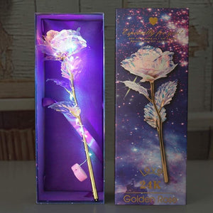 24K Gold Plated Rose Glittering Flowers I Love You Lighting Rose