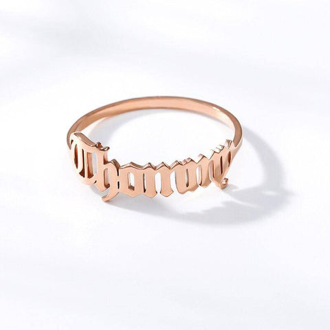 Image of Stainless Steel Personalized Cursive Name Ring For Women