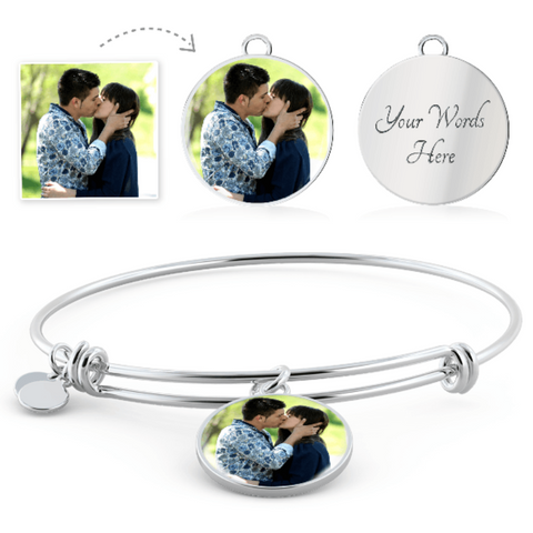 Image of Personalized Bangle Bracelets with Custom Photo and Message Birthday Gifts