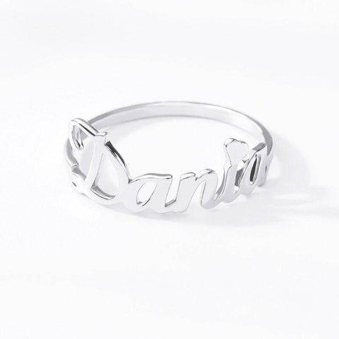 Stainless Steel Personalized Cursive Name Ring For Women