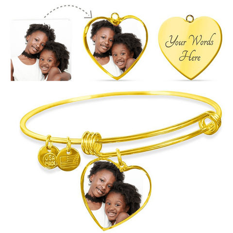 Personalized Bracelet with Custom Photo Heart Shape Gifts For Mom Grandma