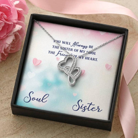 Double Heart Necklace Soul Sister Gift Sister Birthday Gifts