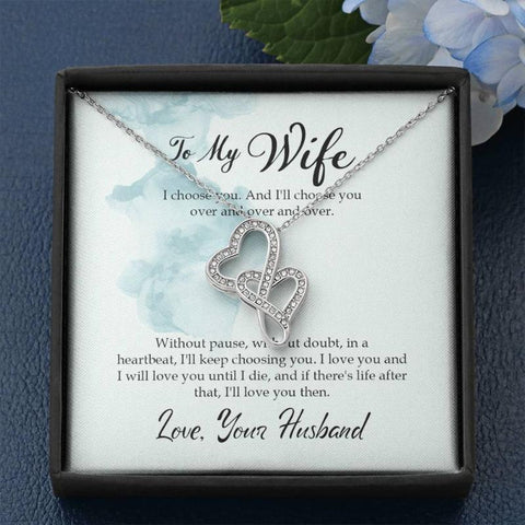 Image of Wife Gifts Double Heart Necklace With Card Message I Choose You