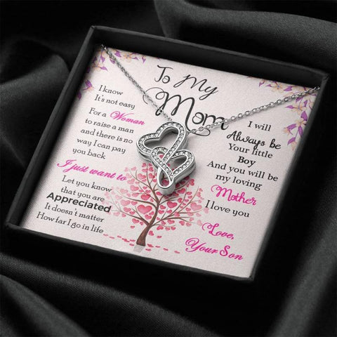 Son To Mom Gift Two Interlocking Hearts Necklace With Message Card Unique Mother Gifts
