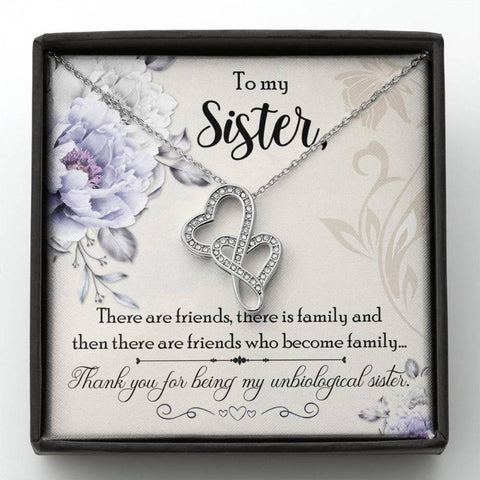 Double Heart Necklace With Card Message Unbiological Sister Gifts