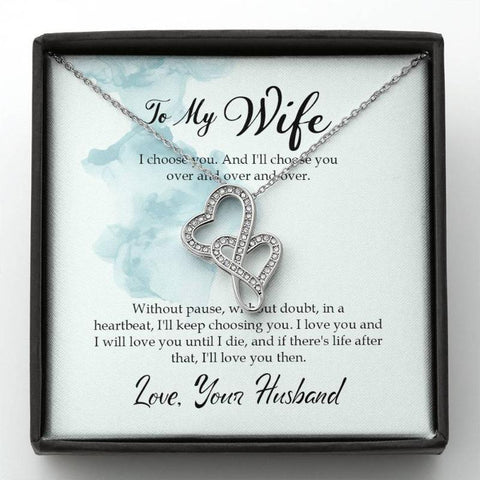 Wife Gifts Double Heart Necklace With Card Message I Choose You