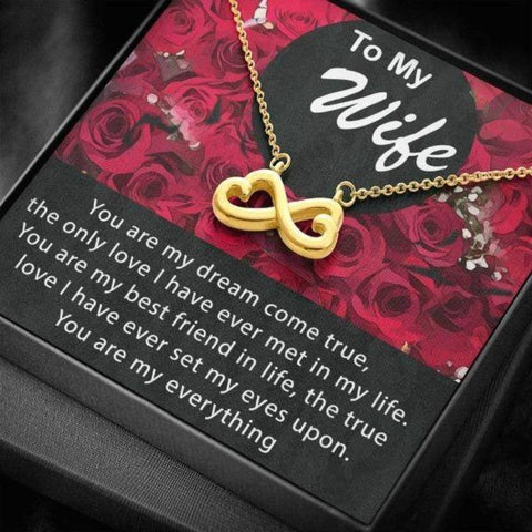 Image of Infinity Hearts Wife Necklace Gold Plated Gift For Wife Birthday Anniversary Gifts For Her
