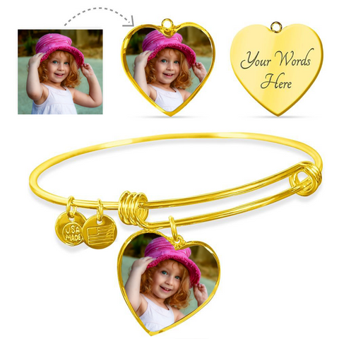 Personalized Bracelets Custom Photo Heart Shape Gifts For Mom Grandma