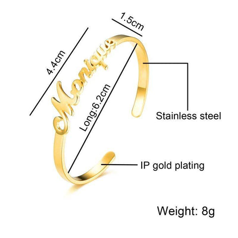 Image of Stainless Steel Personalized Name Bracelets Bangles For Women