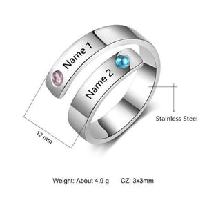 Engraved Rings Name Rings Personalized Birthstone Ring Engraved Names Adjustable Ring - Gifts For Family Online