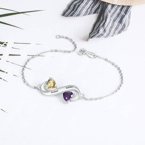 Image of Personalized Infinity Bracelet With 2 Names 2 Birthstones Gifts For Women