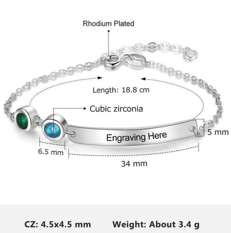 Image of Personalized Nameplate Bracelet 2 Birthstones Rhodium Plated Gift Idea For Women