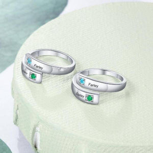 Anniversary Ring Sterling Silver Personalized Rings With Two Birthstones Two Names & Special Message