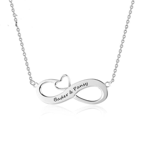 Image of 925 Sterling Silver Personalized Engraved 2 Name Necklace Infinity Love Necklaces