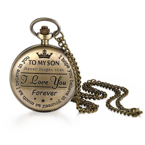 Gifts For Son Bronze Customized Pocket Watch Vintage Roman Numeral Display Clock
