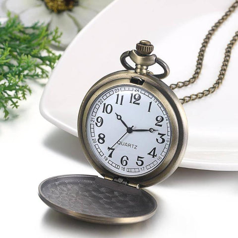 Image of Gifts For Son Bronze Customized Pocket Watch Vintage Roman Numeral Display Clock