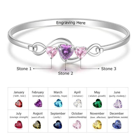 Image of 925 Sterling Silver Personalized Infinity Bracelet Bangle Custom Birthstone Heart CZ