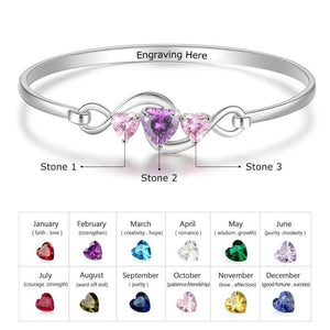 925 Sterling Silver Personalized Infinity Bracelet Bangle Custom Birthstone Heart CZ