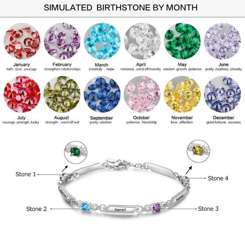 Image of Rhodium Plated Personalized 5 Names and 4 Birthstones Family Bracelet