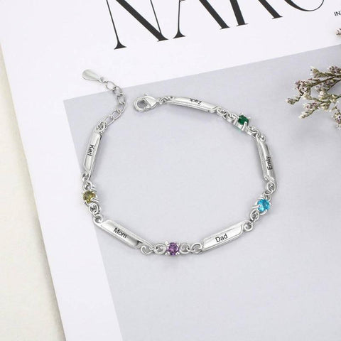 Rhodium Plated Personalized 5 Names and 4 Birthstones Family Bracelet