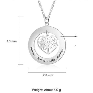 925 Sterling Silver Personalized Name Necklace Tree of Life Gifts For Family