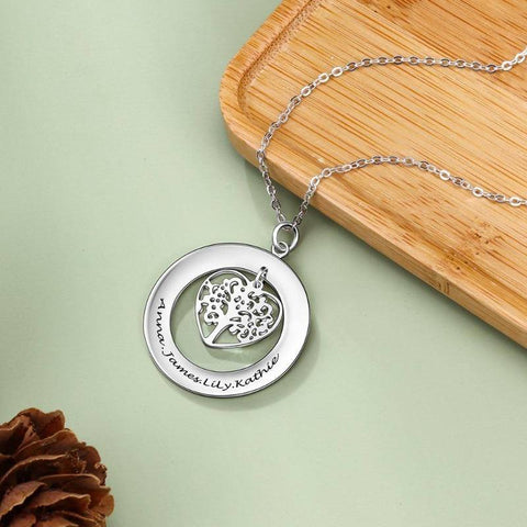 Image of 925 Sterling Silver Personalized Name Necklace Tree of Life Gifts For Family