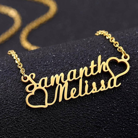 Image of Friendship Necklace 2 Custom Names Two Hearts Personalized Jewelry