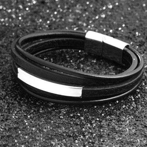 Image of Stainless Steel Leather Bracelet - Gifts For Family Online