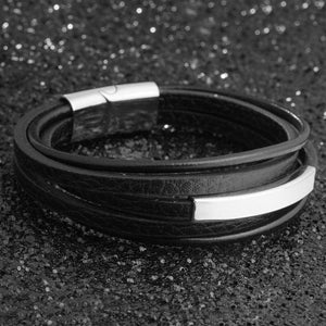 Men Bracelets Engraving Stainless Steel and Black Leather Personalized Gifts For Him - Gifts For Family Online