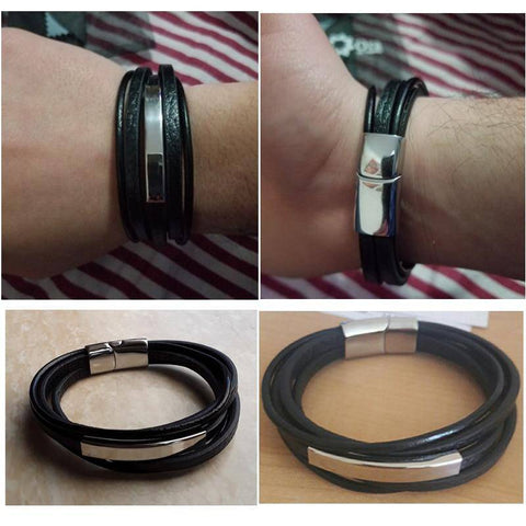 Image of Men Bracelets Engraving Stainless Steel and Black Leather Personalized Gifts For Him - Gifts For Family Online