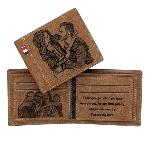 Image of Men's Custom Photo Engraved Wallets RFID Bifold Wallet Gifts For Anniversary