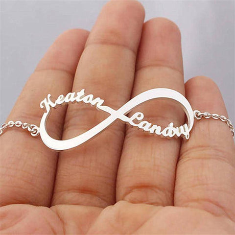 Custom Personalised Bracelet Couple Infinity Love Steel Name Plate Bracelet