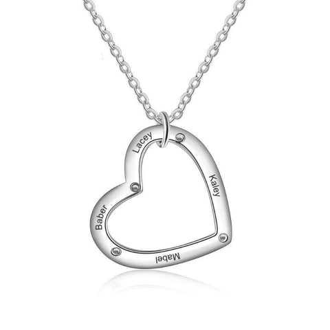 Image of 925 Sterling Silver Personalized Custom Name Heart Necklace Gifts For Her