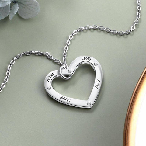 925 Sterling Silver Personalized Custom Name Heart Necklace Gifts For Her
