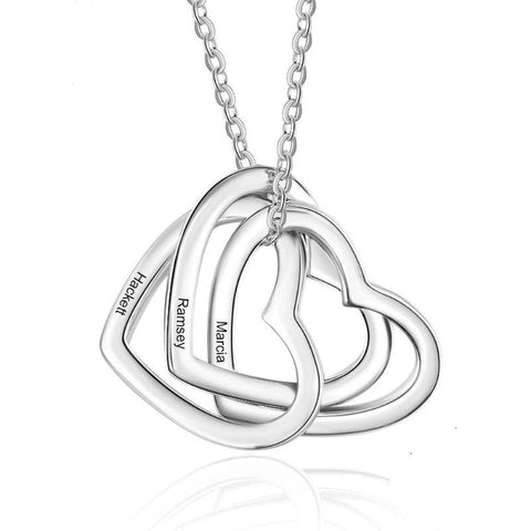Image of 925 Sterling Silver Personalized Name Necklace 3 Interlocked Hearts