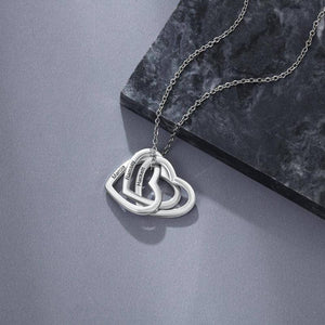 925 Sterling Silver Personalized Name Necklace 3 Interlocked Hearts