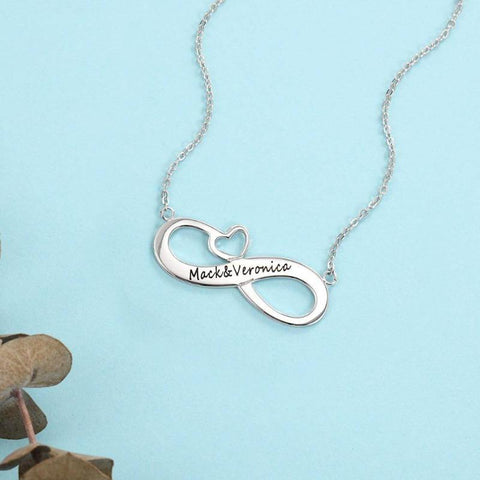 925 Sterling Silver Personalized Engraved 2 Name Necklace Infinity Love Necklaces
