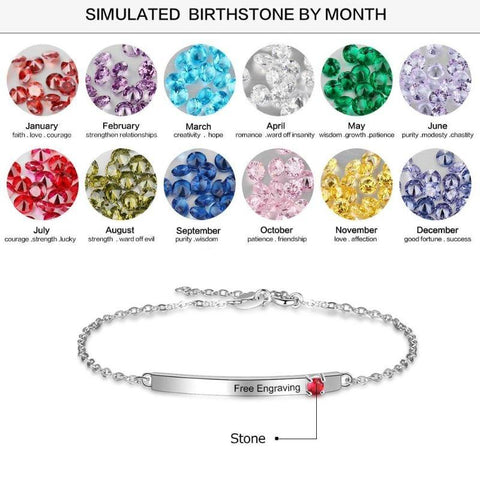 925 Sterling Silver Personalized Bracelet Engraved Name & Birthstone Gifts For Her