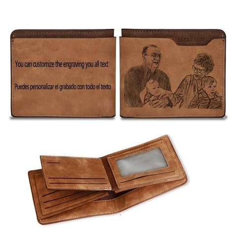 Men's Custom Engraving Photo Wallet Gifts For Grandpa