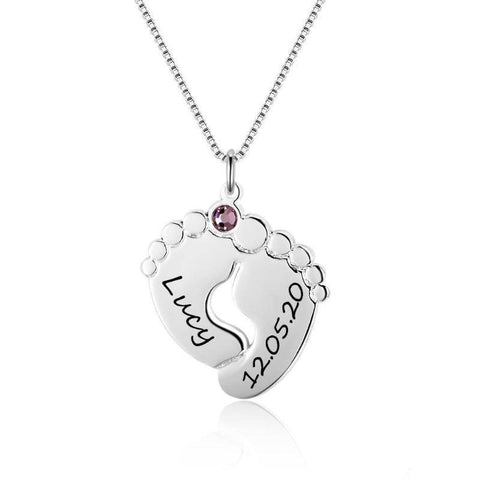 Engraved Baby Feet Pendant Sterling Silver Personalized Necklace Gifts For Family
