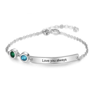 Personalized Nameplate Bracelet 2 Birthstones Rhodium Plated Gift Idea For Women