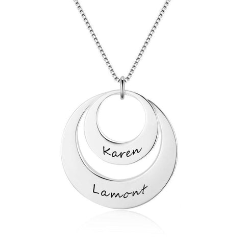 Image of 925 Sterling Silver Personalized Hollow Pendant Necklace Engraved 2 Names Gifts For Women