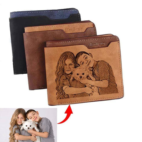 Image of Customized Photo Wallet Bifold Engraved Wallets Gifts for Men