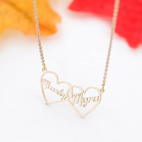 Image of Personalized Double Heart Custom Name Necklace Gold & Platinum Plated Pendant