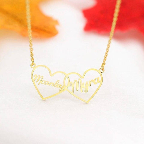 Image of two interlocking hearts necklace - Gifts For Family Online