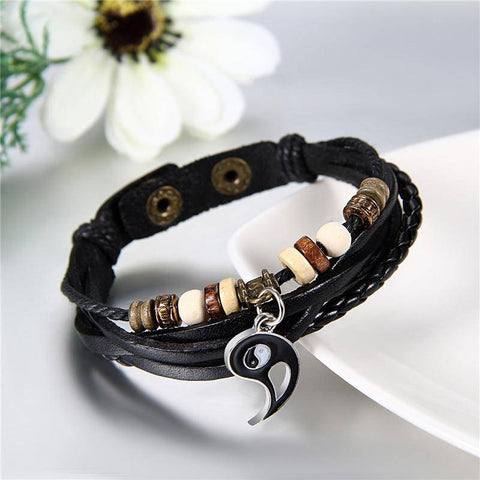 Ying Yang Love Leather Couple Bracelets Set Of Two - Deal Of The Day