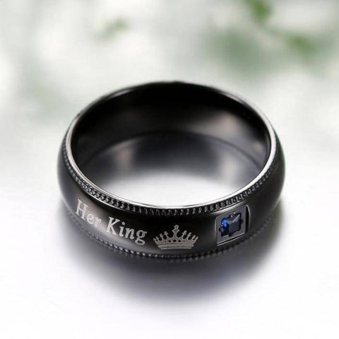 Her King His Queen Matching Couple Ring Set