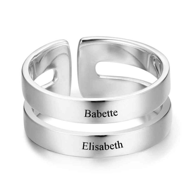 Personalized 2 Names Engraving Anniversary Ring